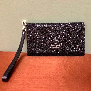 NWT-Kate Spade black glitter wristlet